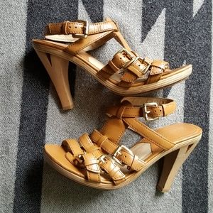 Michael kors cut out wood heel sandals ankle strap